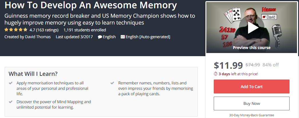 How To Develop An Awesome Memory - Udemy -- Seeders: 1 -- Leechers: 0
